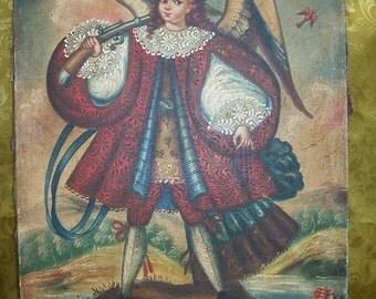 Vintage OIL PAINTING of an ANGEL Arcabucero Cuzco School Style/Salamiel - Militant