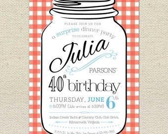 Mason Jar Birthday Party Invite