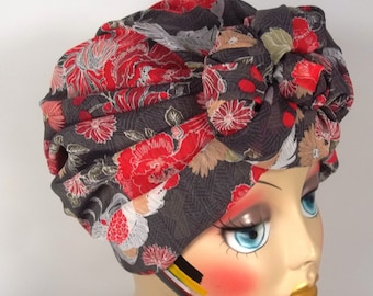 Poly georgette, fashion turban, hat, gray, red, floral, full turban, vintage style, designer,  size Sm, Med, L, XL. Free shipping in USA.
