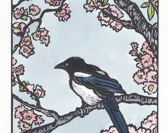 Magpie Spring, Linocut, Hand Pulled Fine Art Print, Limited Edition, Hand-Painted Art, Magpie, Watercolor