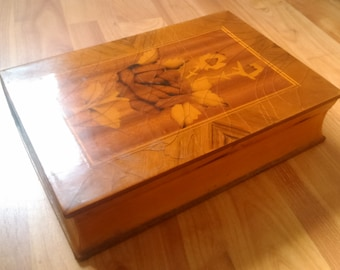 Vintage Romanian wooden jewelry large wood box jewellery 1950s lacquer casket home decor in the form of a BOOK