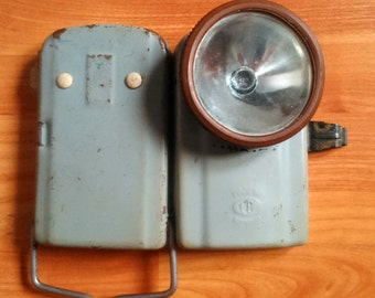 Romanian vintage metal spotlight flashlight industrial lantern home decor handle 1970s made in Romania