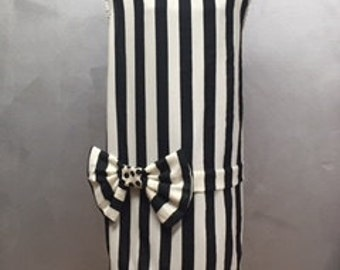 Ivory and Black Striped Dress - Tunic
