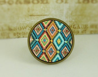 Ring mosaic wood cabochon colorful bronze