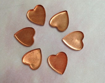 6 Vintage Brass Heart Bezels-15mm