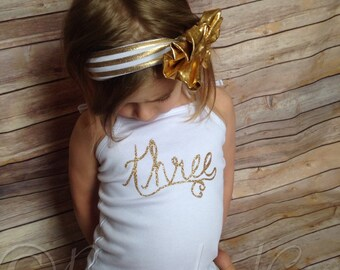 Three Birthday Shirt/Third Birthday Tank Top/ Third Birthday Outfit/Gold 3rd Birthday Shirt