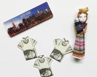 Set of 3 Origami Magnet One dollar Bill Shirt