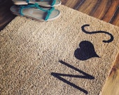 """Doormat / Welcome Mat Personalized Custom with Capital Initials and Heart - 18x30"""" natural coir"""