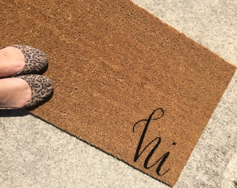 Hi Doormat / Welcome Mat Personalized  - made from natural coir