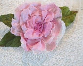 Brooch hair clip, flower wedding, handpainted