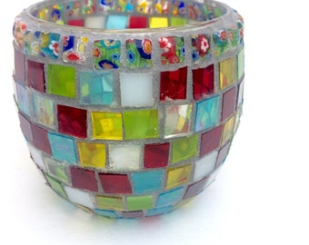 Mosaic candle holder, Festival Nights, stained glass votive, flower pattern beads, geometric, Valentine, friend gift,new home, new love, red