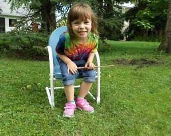 Kids Rainbow Swirl Tye Dye Tshirt, 4T Cotton Hand Dyed Top, Red Orange Yellow Green Blue and Purple Tie Dye Kids 4T Tshirt
