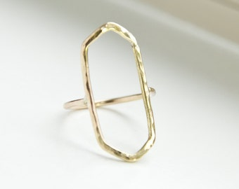 Rectangle Ring, Gold Rectangle Ring, Rectangle Gold Ring, Gold Rectangle, Geometric Ring, Gold Geometric Ring, Hammered Gold Ring
