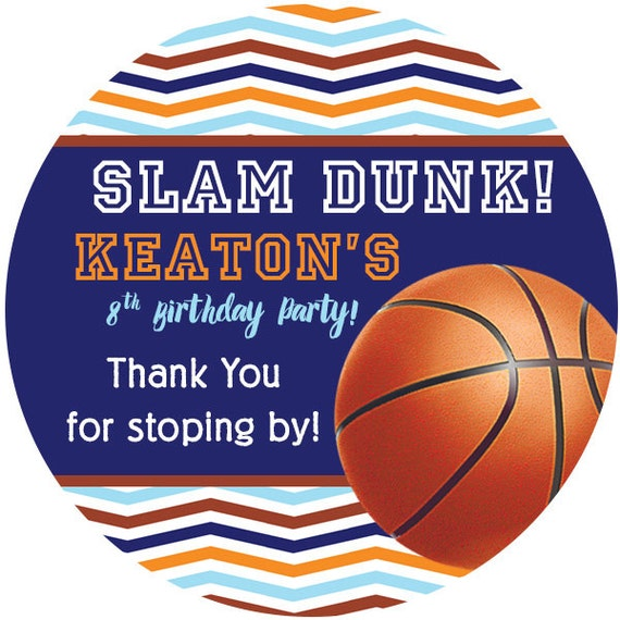 Personalized Stickers Basketball, Slam Dunk Birthday