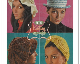 1960s Hats Vintage Knitting Pattern  - PDF Instant Download