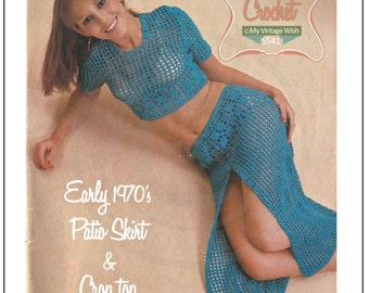 1970s Patio/Beach Top and Skirt Vintage Crochet Pattern - PDF Instant Download