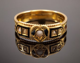Victorian Mourning Ring 15k with Black Enamel & Pearls, circa 1880