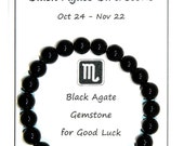 W128  Scorpio  Oct 24  Nov 22  Black Agate Gemstone Bracelet Gift