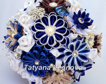Fabric Wedding Bouquet, Brooch bouquet blue, White, brown, 9 inches