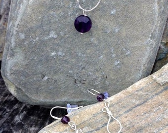 Amethyst Sterling Silver necklace set