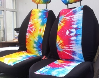 TIE DYE car seat covers: car front seat covers. BOHO hippy chick. Tie die printed fabric. blue red yellow covers
