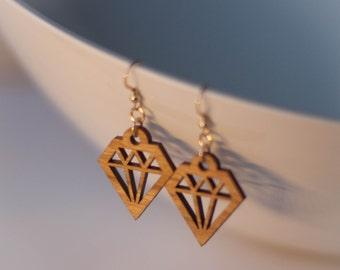 Diamond Shaped Wood Earrings
