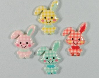 5 BUNNY cabochons, resin, baby shower, baby decor, nursery decor, baby, invitations, scrap booking, card making, gift tags
