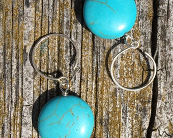Sterling Silver Demi Hoops with Turquoise Coin