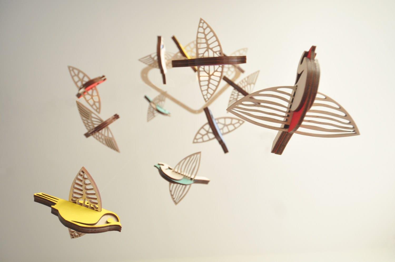 Flying High Bird Mobile Medium Wooden Mobile Nursery
