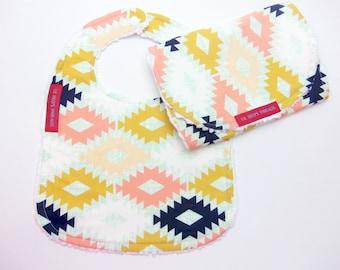 Bib and Burp Cloth Set in Arizona - Boutique bib and burp cloth set - Designer fabric, cotton chenille, mint, navy, coral, tribal