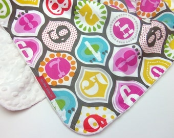 Minky Baby Blanket in 123's Please- Designer Boutique Minky Baby Blanket - Baby or toddler girl gift - retro numbers, quatrefoil