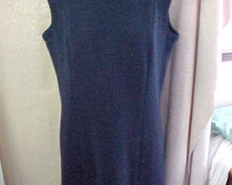 1960s David Crystal Knit  Navy Blue Sleeveless  Dress, Large  #179