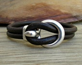 Mens Leather Bracelet Leather Men Bracelet Cuff  Brown Black Antique Silver Plated Customized On Your Wrist MS1
