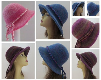 Felted Hat Pattern #203 Flat Brim Hat, Felt Hat, Knitting Pattern, Felting Pattern, Winter Hat, Cowboy Hat, Cowgirl Hat