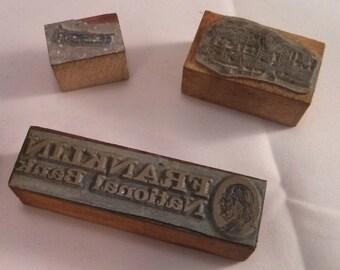 Set of Three Old press blocks