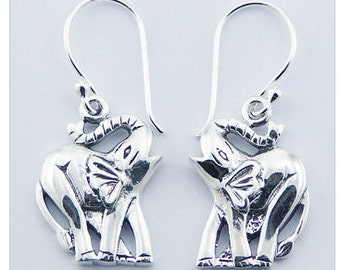 Elephant with Trunk Up Dangle 925 Sterling Silver Earring