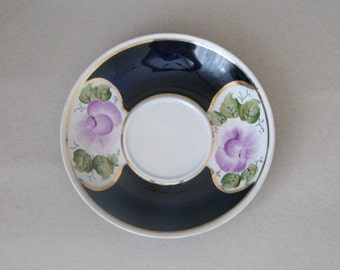 Vintage Cobalt Blue with Gold Trim and hand painted flower ornament  Saucer - Made in USSR