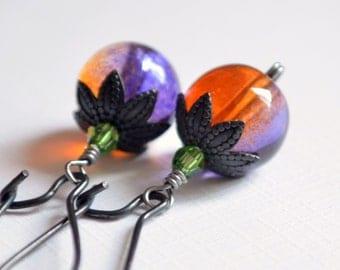Fun Halloween Earrings, Orange and Purple Pumpkins, Glass Beads, Swarovski Crystal, Black Gunmetal, Kidney Earwires
