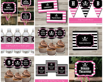 Pink Pirate Party Kit with Editable Text, Printable Pink Pirate Party Kit, DIY Pink Pirate Party Kit, Girl's Pink Pirate Party