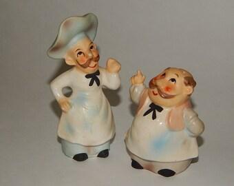 Lefton's #1692 Baker/Bakery Men Salt + Pepper Shakers Set Japan
