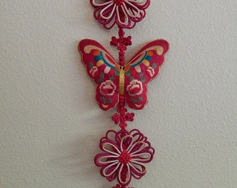 "46"" Asian Butterfly Flower Red Tassels Braided Wall/Home Decor"