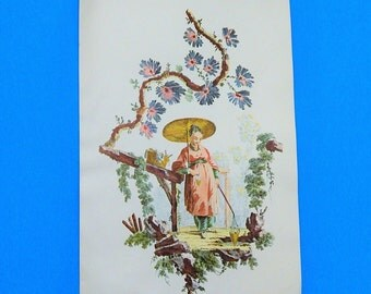 """6"""" x 9"""" Cunningham Art Products Asian Woman in Garden Print - Home/Wall Decor"""