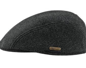 Soft Melton Wool Warm Flat Cap - dark grey
