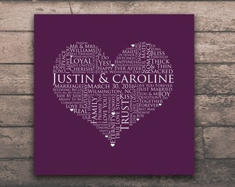 HEART SIGNATURE POSTER 12x12 inch bridal guestbook Word Art Print Engagement Gift Bride and Groom Gift Home Wall Wedding Decor Plum Purple