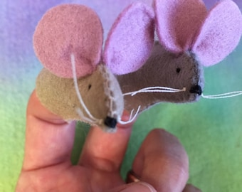 Mice Are Nice - Set of 2 Handmade Finger puppets in tan and grey