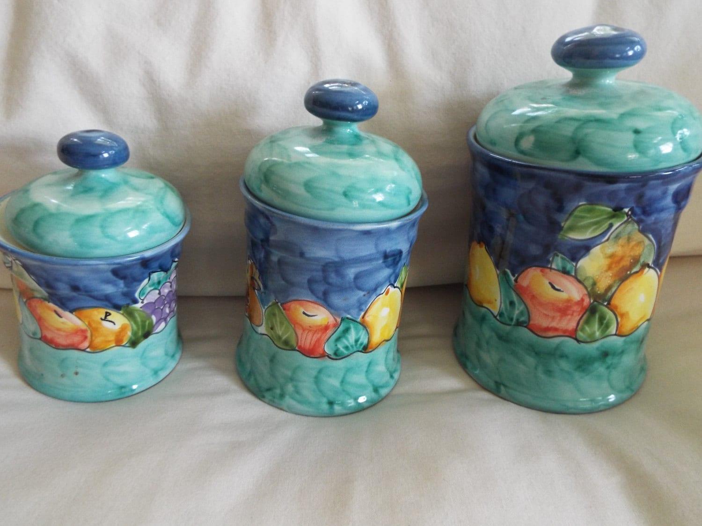 Italian Pottery Kitchen Canisters.Italian Pottery Handmade Deruta ...