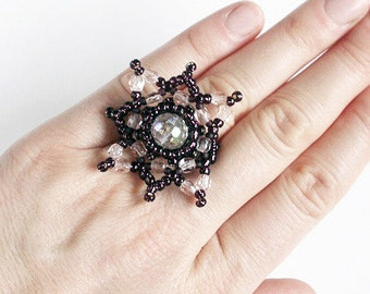 statement ring, crystal ring, seed bead ring, beaded ring, beadwork, beadwoven ring, ring for her, seed bead jewelry, ooak, bridal ring