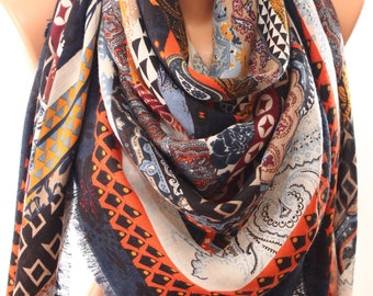 Paisley Floral Geometric Art Print Orange Square Scarf Women Accessories Fall Winter Fashion Scarf Shawl Scarves Cowl  Gift Ideas For Her