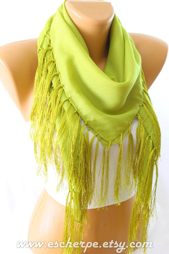 green fringe square cotton scarf scarfs scarves by