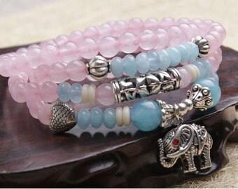 Chalcedony Agate Beaded Bracelet